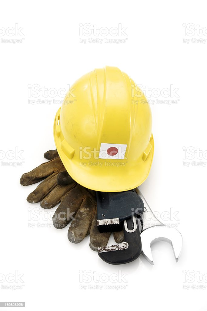 Well-used hard hat with the Japanese flag royalty-free stock photo