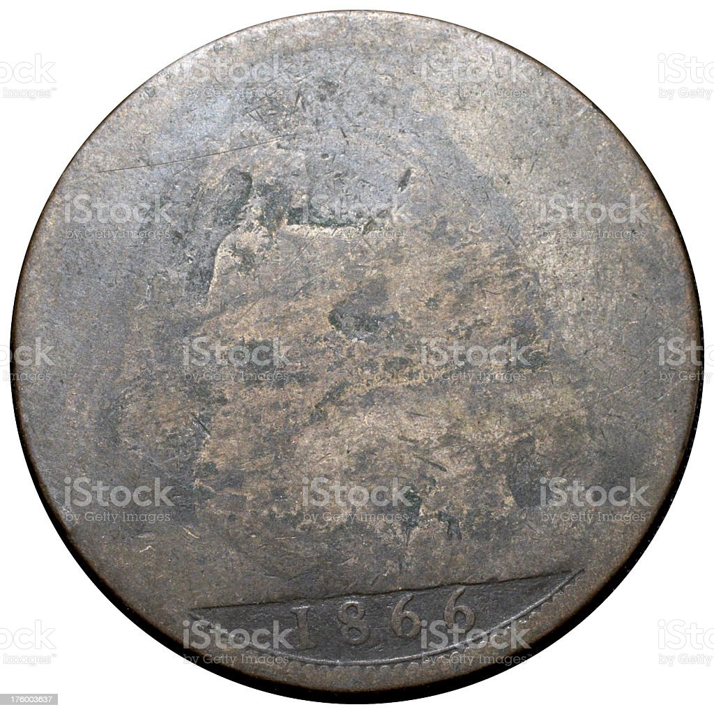 Victorian penny 1866 (reverse) Britannia old and worn stock photo