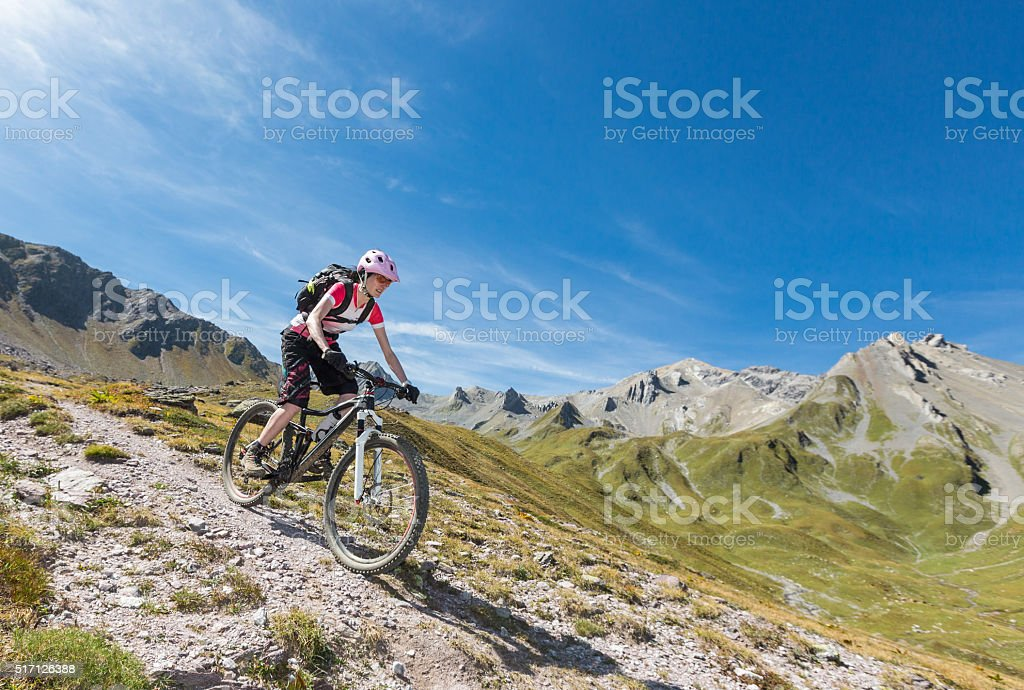 Welschtobel fast downhill biking, Switzerland stock photo