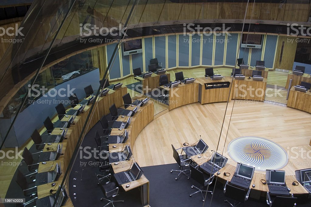 Welsh Assembly debating chamber stock photo