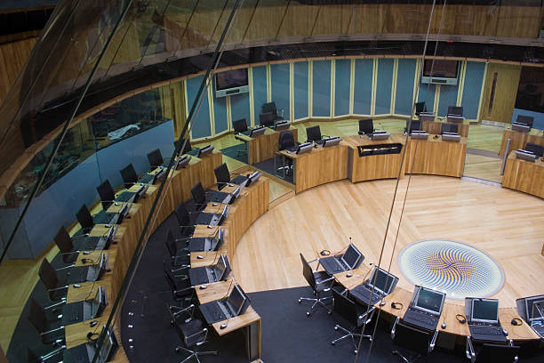 Welsh Assembly debating chamber Welsh Assembly debating chamber, Wales, UK wales stock pictures, royalty-free photos & images
