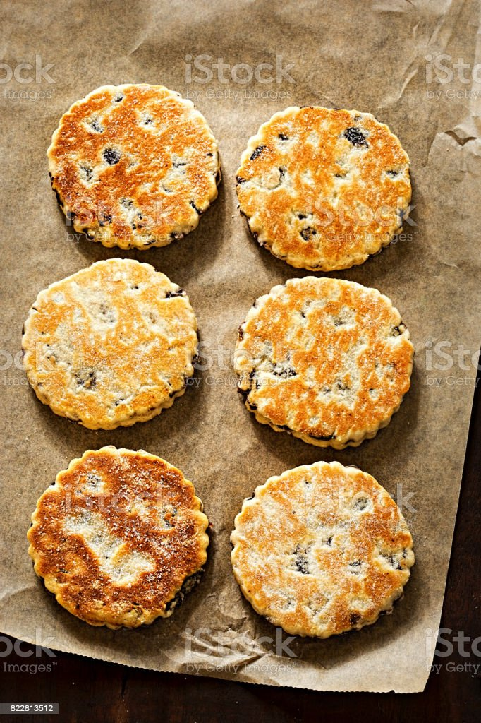 Welsh cake with currants and sugar stock photo