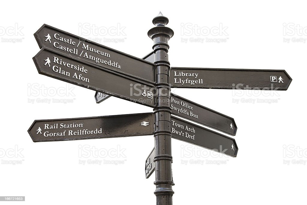 Welsh City Sign Post with clipping path stock photo