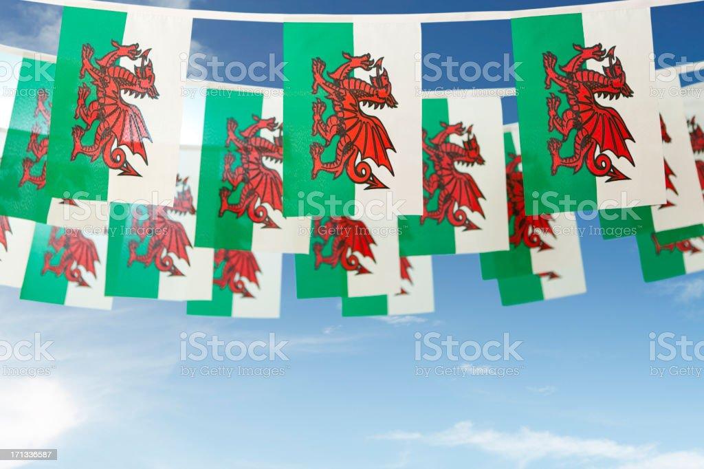 Welsh flag celebratory bunting stock photo