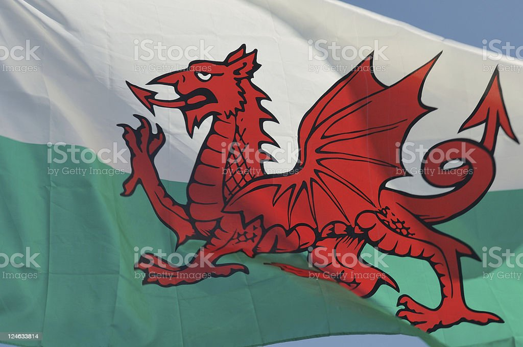 Welsh Flag Close-up royalty-free stock photo