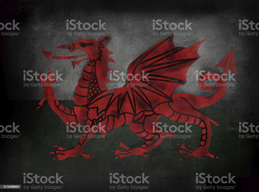 Welsh Flag in Chalkboard blackboard illustrative style stock photo