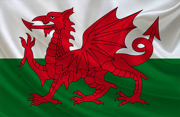 Welsh flag Welsh flag, three dimensional render, satin texture welsh culture stock pictures, royalty-free photos & images