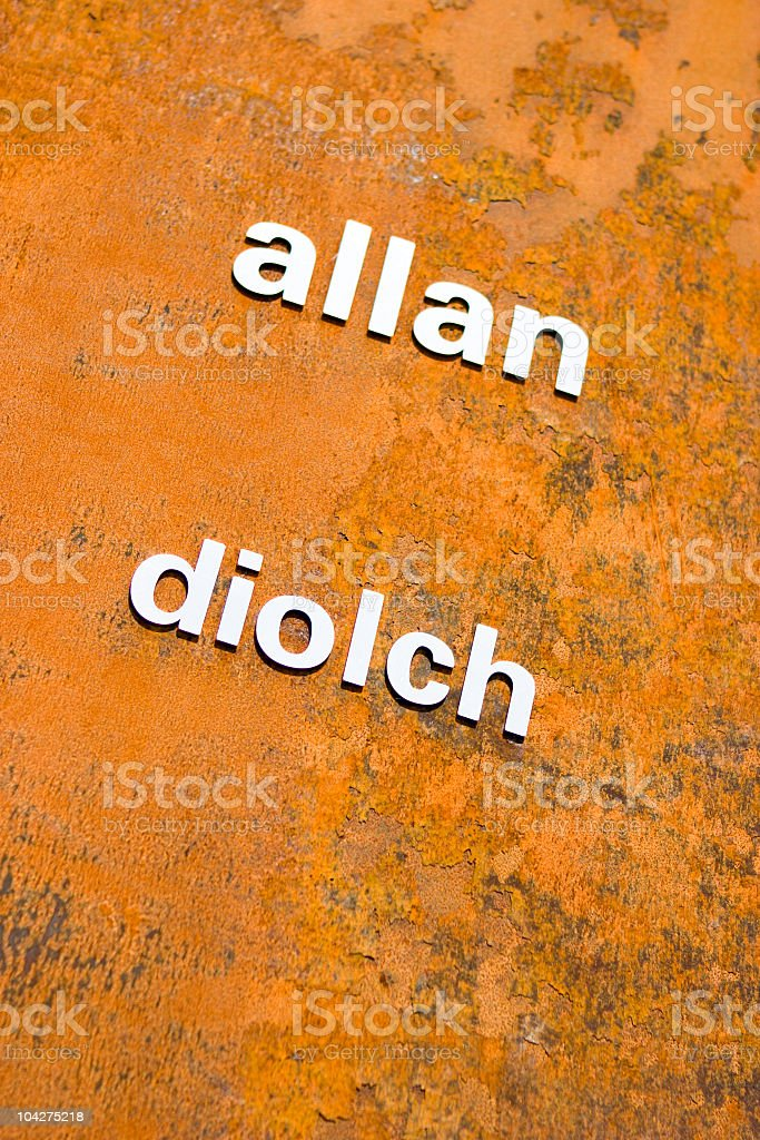 welsh language sign stock photo