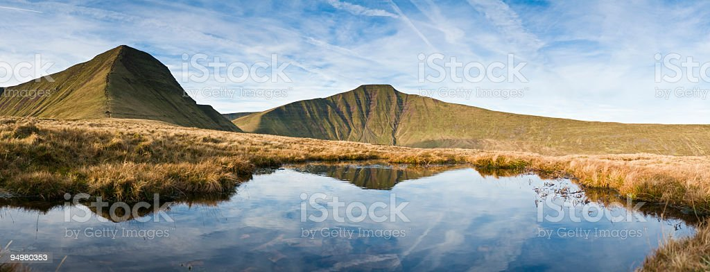 Welsh mountains and moor reflected royalty-free stock photo