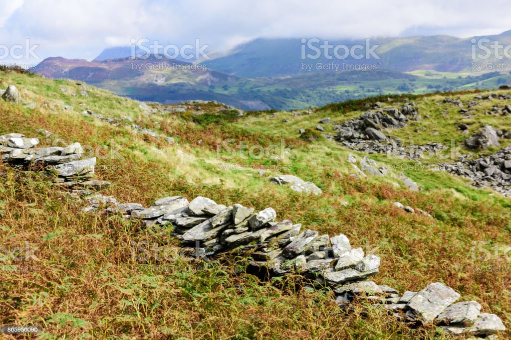 Welsh Mountains near Barmouth and Snowdonia stock photo