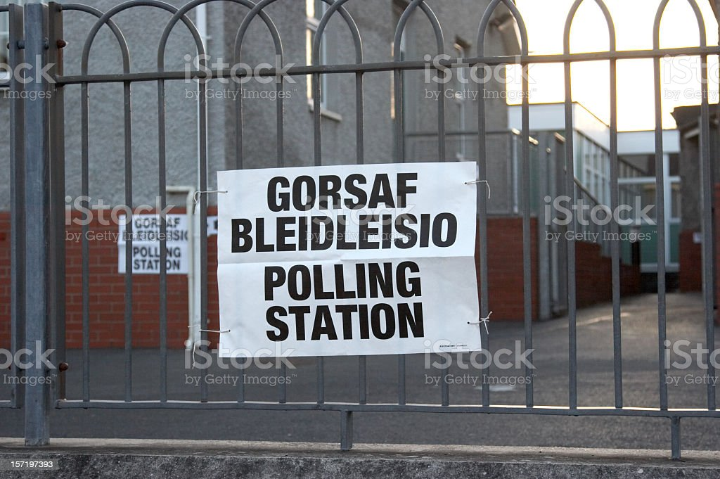 Welsh polling station stock photo