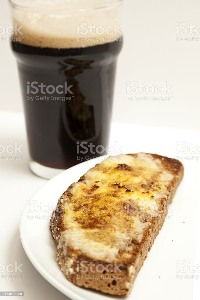 Welsh Rarebit and Stout stock photo
