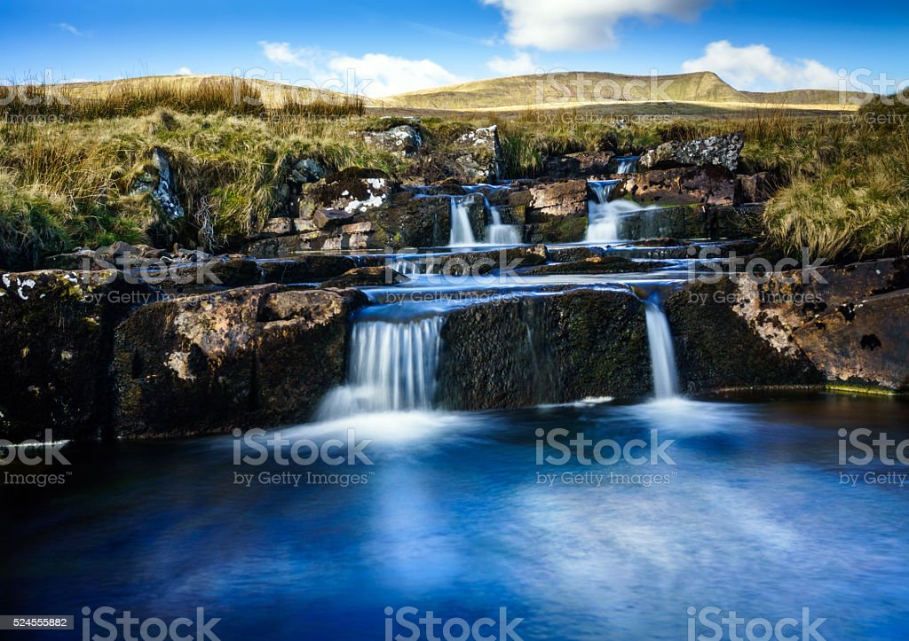 Welsh river on edge of the Brecon Beacons stock photo