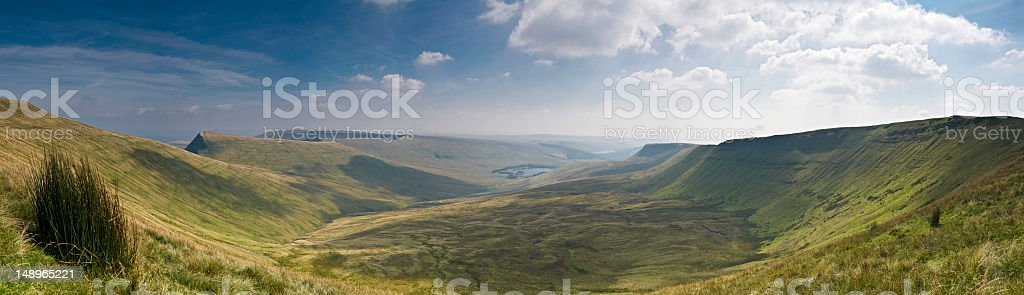 Welsh valley panoramic vista stock photo