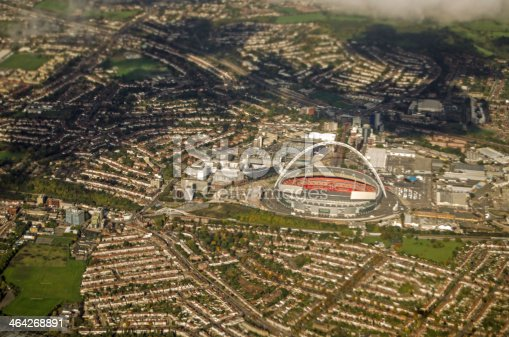 View from the air of Wembley Stadium in North West London.  The sports arena hosts some of the most important football matches in the UK.