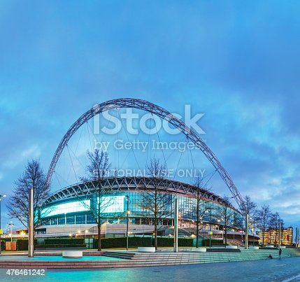 London, UK - April 6, 2015: Wembley stadium in London, UK. It's a football stadium in Wembley Park, which opened in 2007 on the site of the original Wembley Stadium which was demolished in 2003