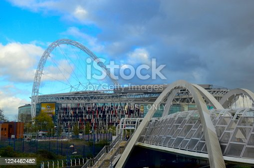 The White Horse Bridge, it's a footbridge that crosses the tracks railway station leading up to Wembley Park, London