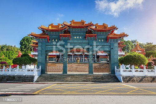 Entrance gate towards the stairway up to Wen Wu Temple at Sun Moon Lake under blue sunny sky. Yuchi, Nantou, Wen Wu Temple, Sun Moon Lake, Taiwan, Asia.