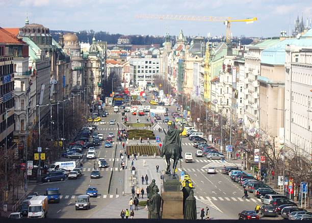 Wenceslas Square, from the South East Wenceslas Square is a main boulevarde in the new town of Prague which is watched over by the statue of Saint Wenceslas mounted on his horse. wenceslas square stock pictures, royalty-free photos & images