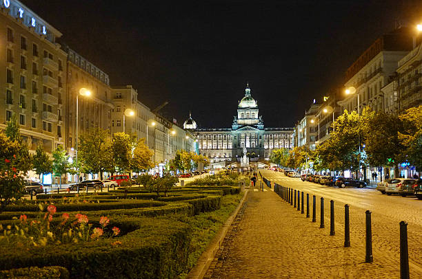Wenceslas Square in Prague Nighttime at the Wenceslas Square in Prague wenceslas square stock pictures, royalty-free photos & images