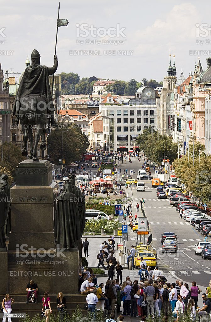 Wenceslas square in Prague royalty-free stock photo