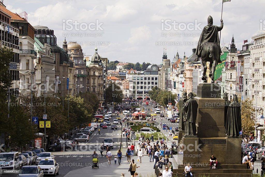 Wenceslas square in Prague stock photo