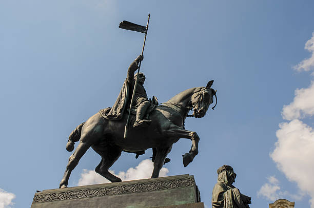 wenceslas square in Prague wenceslas square in prague showing the statue of Saint Wenceslas on a horse near the national museum wenceslas square stock pictures, royalty-free photos & images