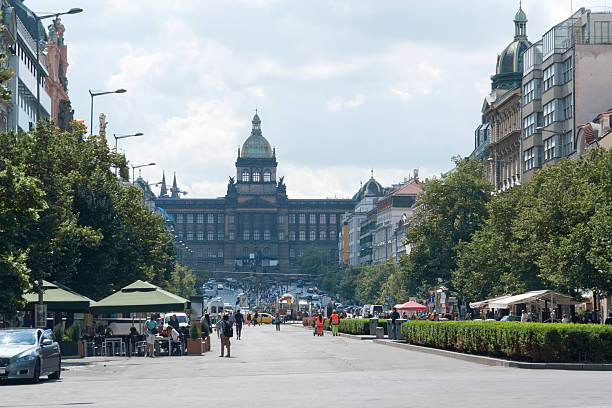 Wenceslas Square city view of Prague, the capital of the Czech Republic wenceslas square stock pictures, royalty-free photos & images