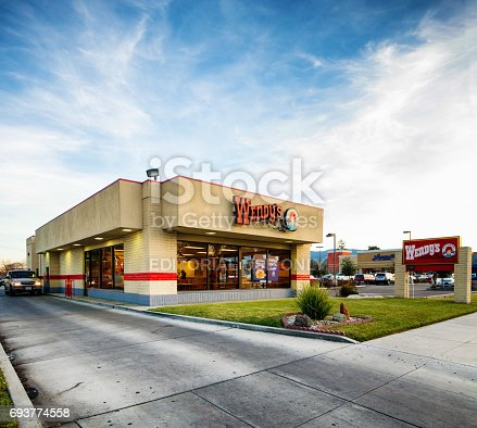 istock Wendy's American burger food restaurant with sign 693774558