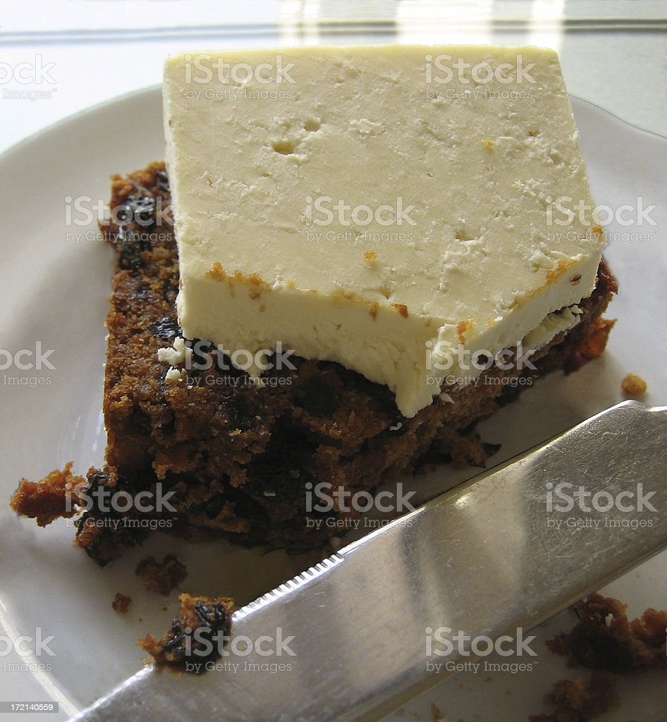 Wensleydale Cheese & Fruit Cake royalty-free stock photo