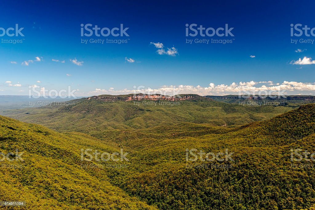 Wentworth Falls in Blue Mountains National Park, Australia. stock photo