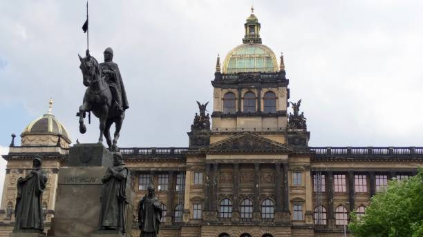 Wenzelsplatz, city place in Prague Monument of Wenzel at Wenzel Place wenceslas square stock pictures, royalty-free photos & images