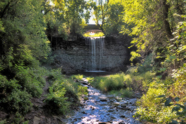 wequiock waterfall - green bay wisconsin stock photos and pictures