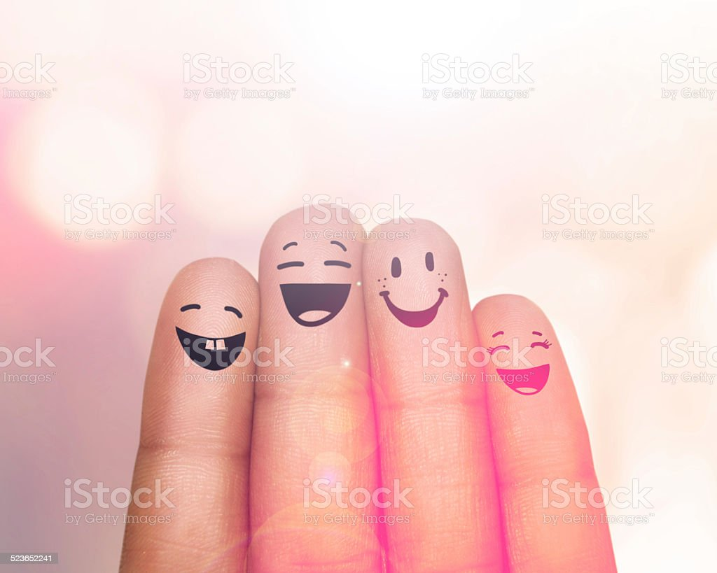 We're a happy family of fingers stock photo