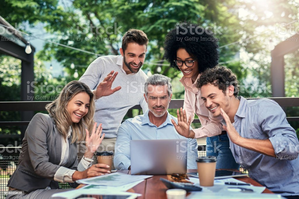 We're all here! stock photo