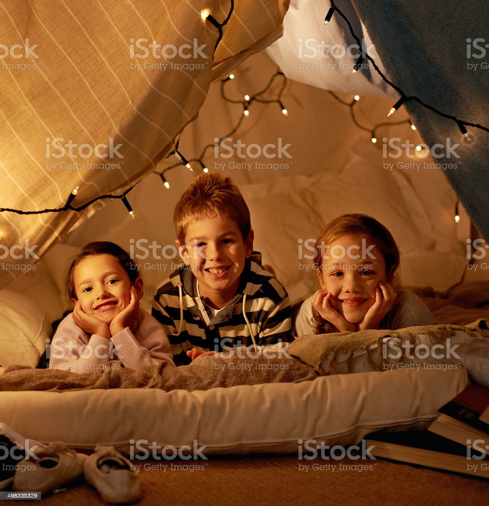 We're camping! stock photo