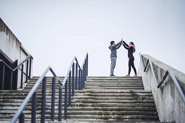 we're finished with training - treppe außen stock-fotos und bilder