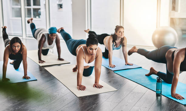 We're fit and healthy moms to be stock photo