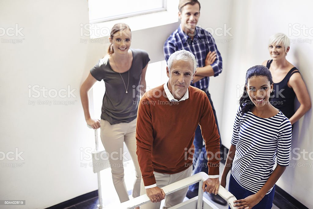 We're going all the way to the top stock photo