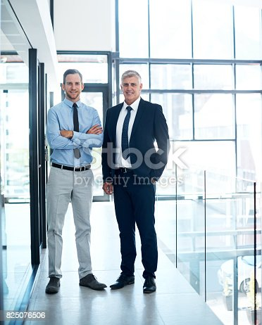 Portrait of two confident executives standing together in a modern office