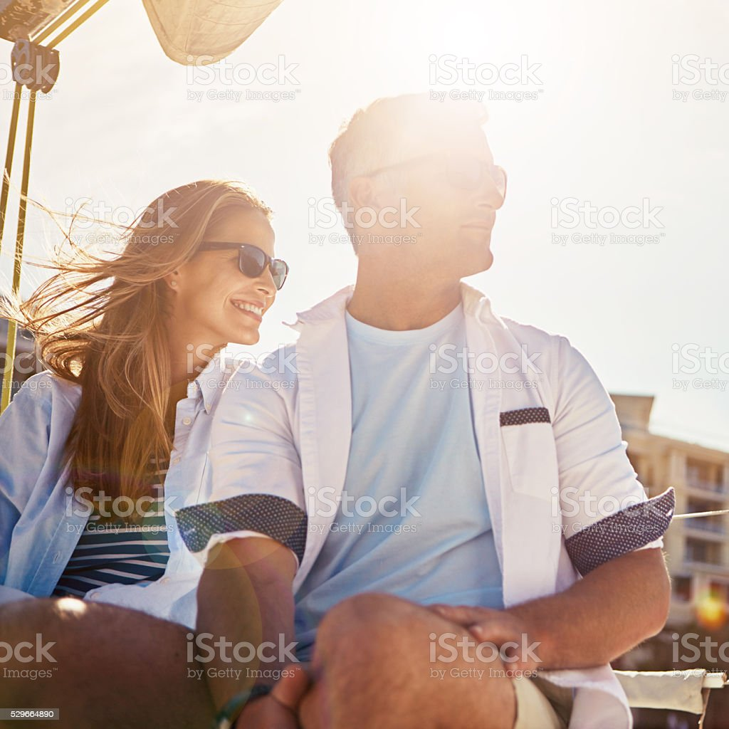 We're not thinking about anything but having fun stock photo