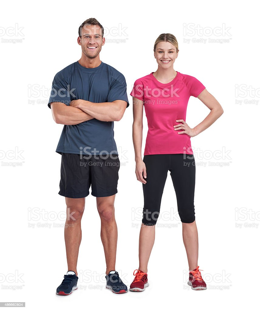 We're ready for fitness...are you? stock photo