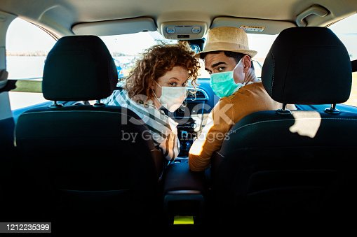 Corona virus pandemic concept. breathing through a medical mask because of the danger of getting the flu virus, influenza infection. Enjoying travel. Beautiful young couple sitting on the front passenger seats and smiling while woman driving a car