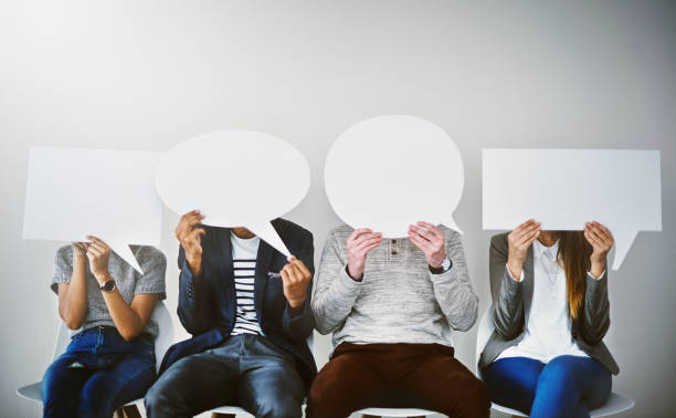 nous sommes prêts à poser des questions pertinentes - bulle de dialogue photos et images de collection