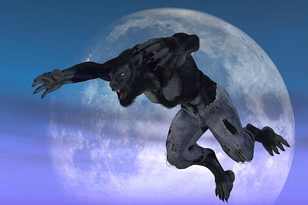 Werewolf against moon stock photo