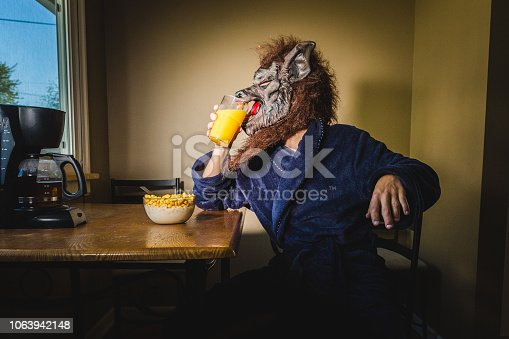 Werewolf Man Eating Breakfast On a Lazy Weekend Morning. Humor inspired shoot of a werewolf man relaxing in his bathrobe drinking orange juice in the kitchen with his breakfast.