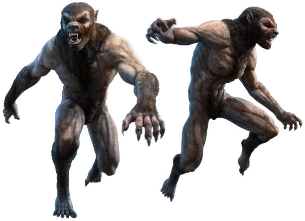 werewolves 3d illustration - monster stock pictures, royalty-free photos & images