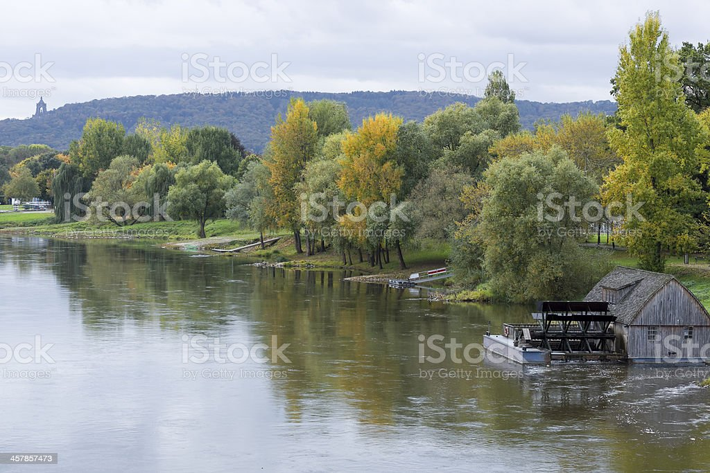 Weser river with Kaiser Wilhelm memorial andt Porta Westfalica stock photo
