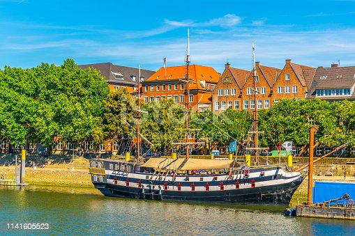 Weser riverside in Bremen, Germany.