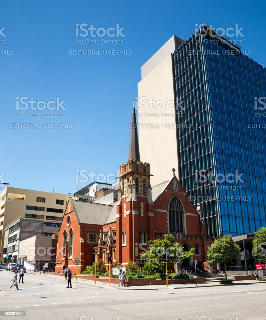 Wesley Uniting Church at corner of Hay Street and William Streer in Perth City, Western Australia stock photo